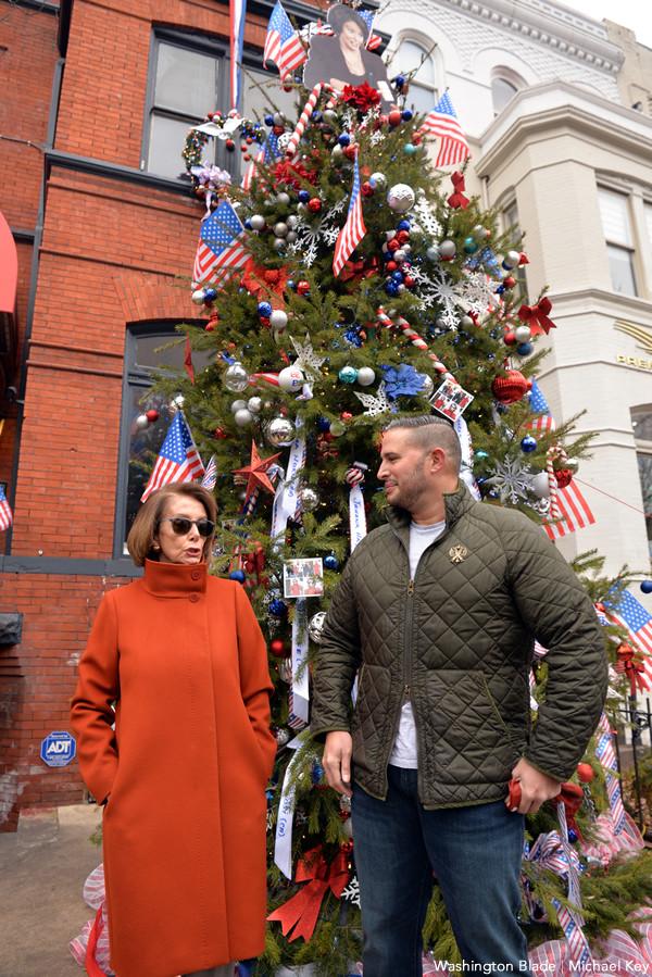 Nancy Pelosi and Dito Sevilla talking outside