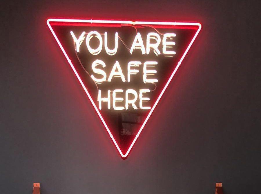 Neon sign inside gay bar Jolene's
