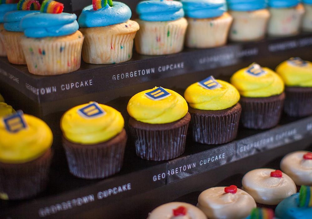 Gay cupcakes on display