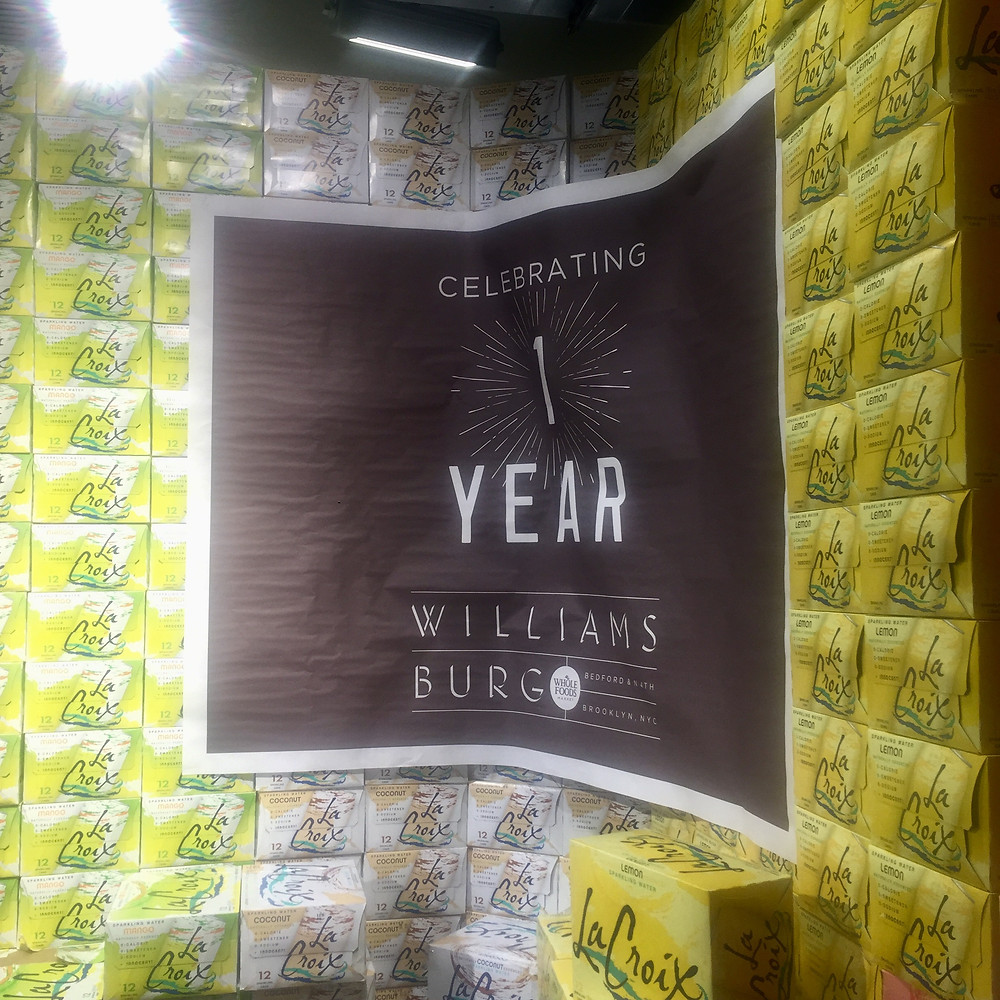 Whole Foods Market anniversary flyer in Williamsburg Brooklyn