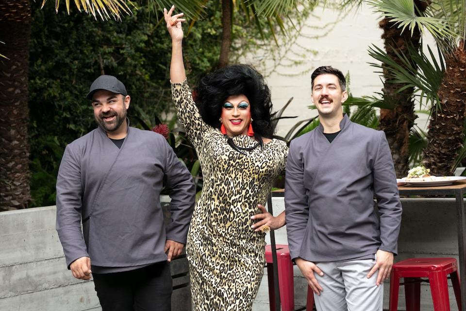 Chef Cory Armenta, Juanita MORE! and Cole Church posing for photo