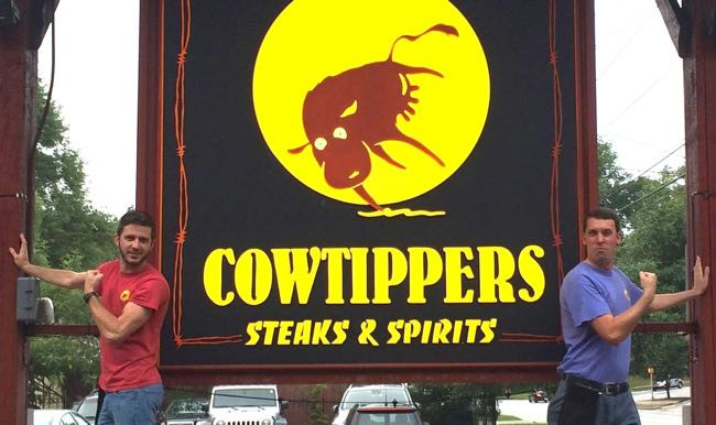 Cowtippers Steaks & Spirits outdoor sign