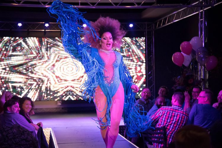Sabrina White performing during the grand opening of Hamburger Mary's in downtown St. Louis