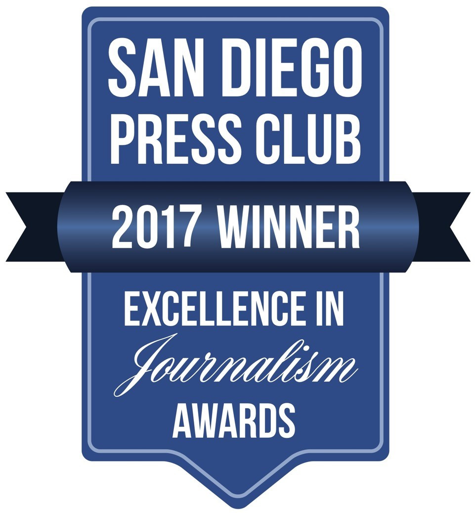 San Diego Press Club Excellence in Journalism award banner