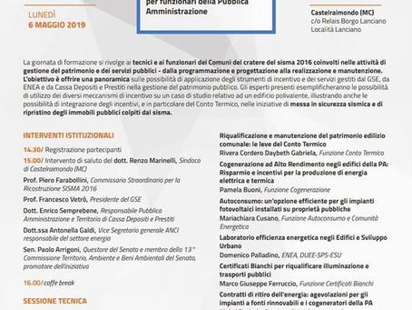Castelraimondo: lunedì 6 maggio una giornata di formazione con GSE