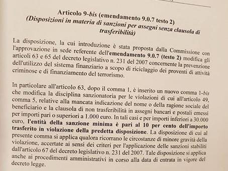 DL fiscale: approvato emendamento su assegni senza clausola di trasferibilità. Sanzioni ridotte