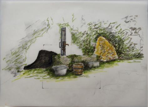 dessin pompe à eau