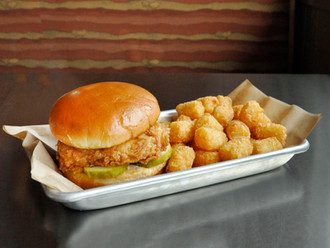Fried Chicken Sandwich and Tater Tots