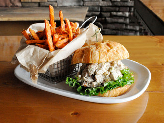 Chicken Salad Croissant with Sweet Potato Fries