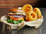 Turkey Burger and Onion Rings