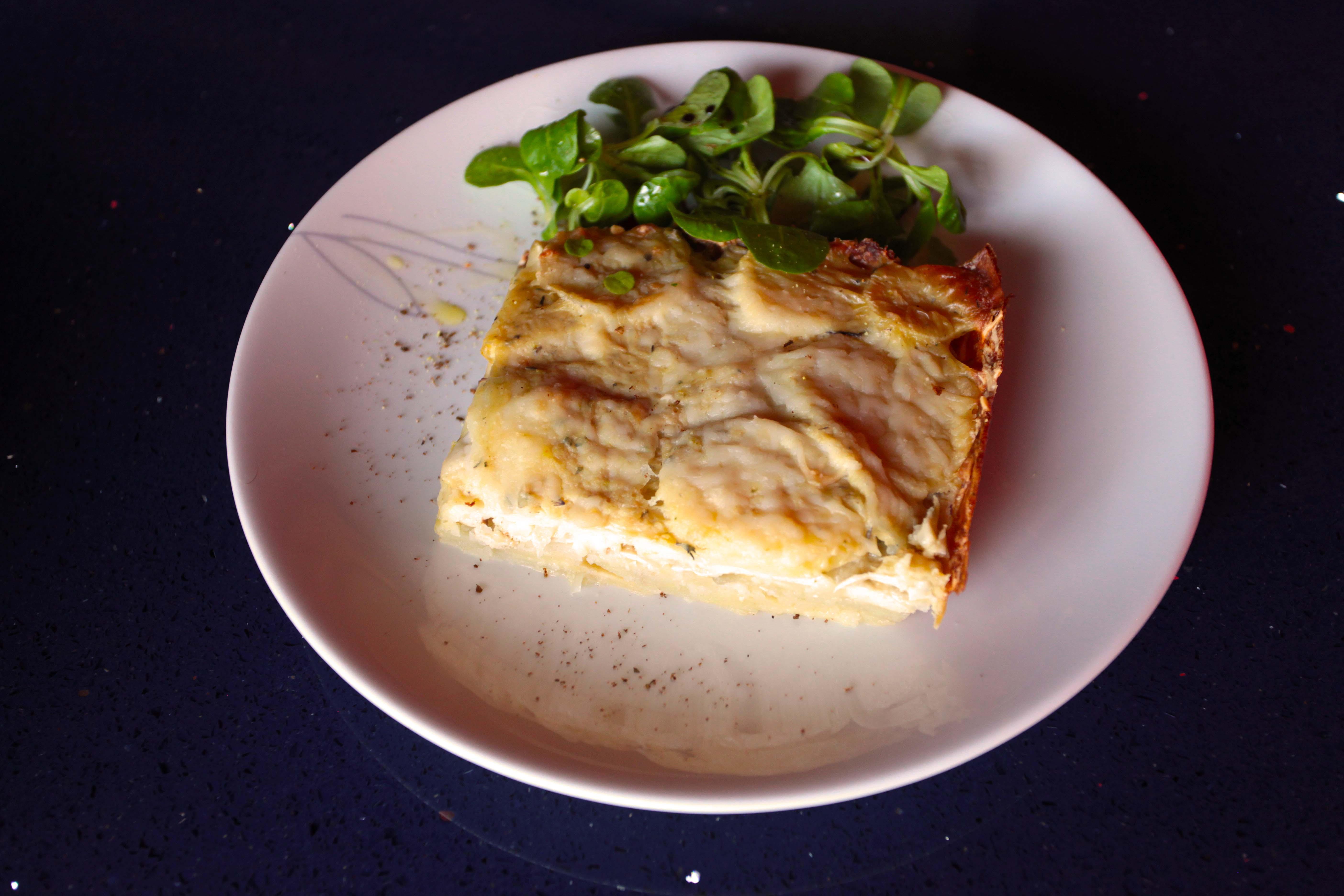 Gratin de panais, pomme de terre et tofu fumé