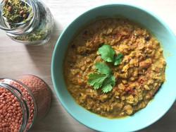 Dhal lentilles corail au curry et lait d