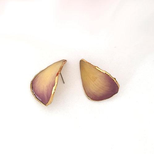 עגילים עלי כותרת סחלב בציפוי זהב 24 קראט