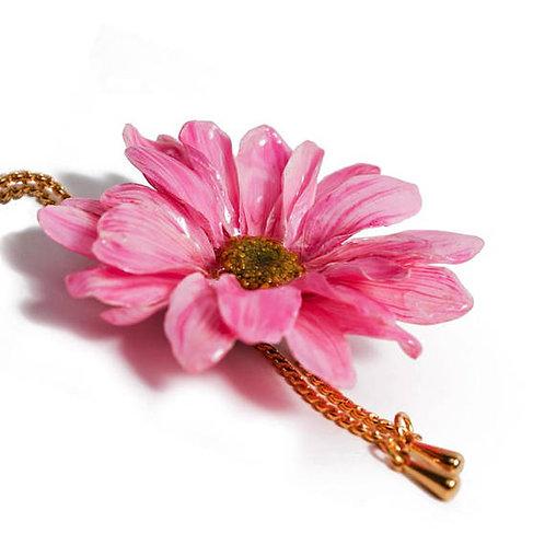 שרשרת זהב ארוכה עם תליון פרח גרברה