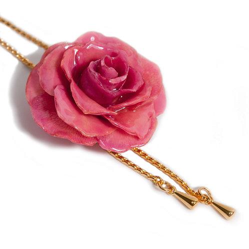שרשרת זהב ארוכה עם תליון ורד