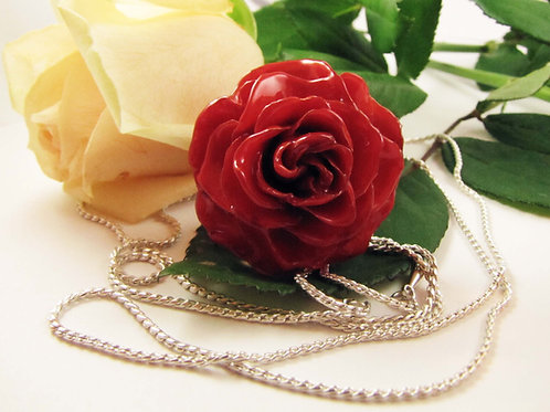 שרשרת כסף ארוכה עם תליון ורד