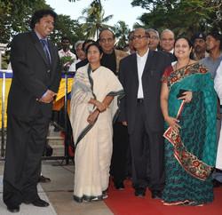Manoj Srivastava, CEO, ESG with Mamata Banerjee, Goa CM Digamber Kamat and Asha Kamat on the red car