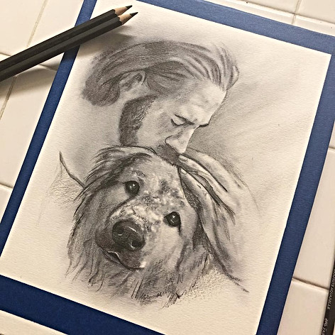 Memorial drawing of beloved pet
