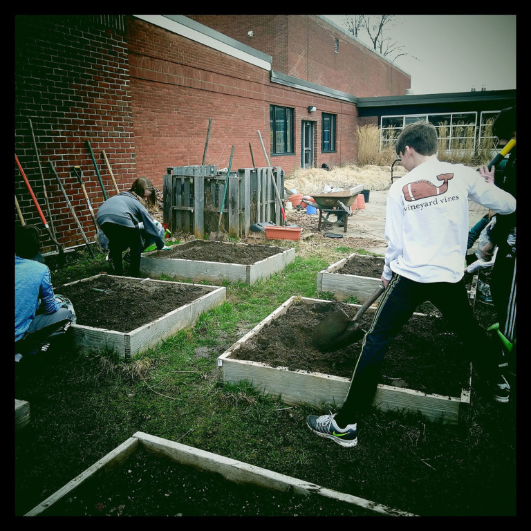 Students prepare garden beds