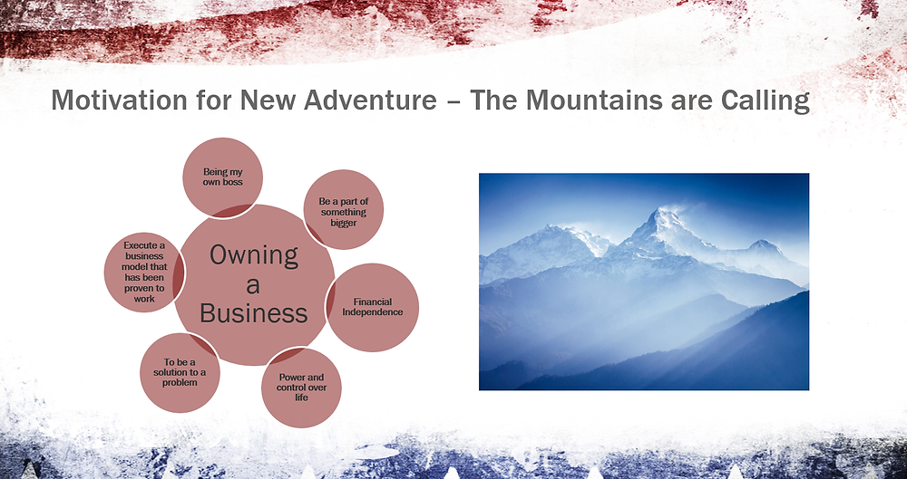 Slide from the franchise approval presentation that James Howard gave prior to being awarded a franchise territory.  He wanted to own the franchise business because he wanted to be his own boss.