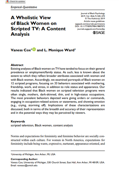 A Wholistic View of Black Women on Scripted TV: A Content Analysis