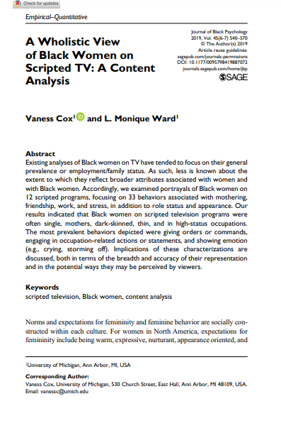Content Analysis of Black Women in Contemporary TV Programs