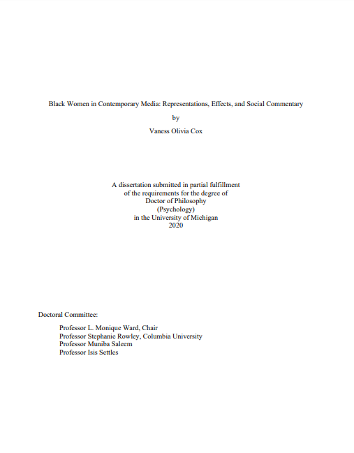Dissertation on the Effects of Black Women in Media