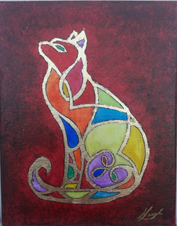 Stained Glass Nouveau Cat