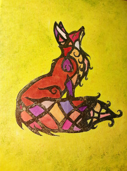 Stained Glass Nouveau Fox in yellow