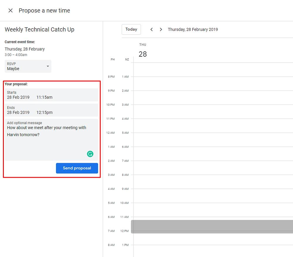 Send a New Proposal in Google Calendar