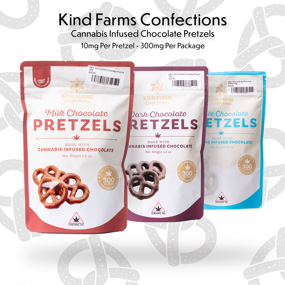 Kind Farms, Kind Farms Confections, Chocolate Covered Pretzels, Cannabis Infused Chocolate, THC Chocolate, Medical Marijuana, Medical Cannabis, Cannabis Dispensary