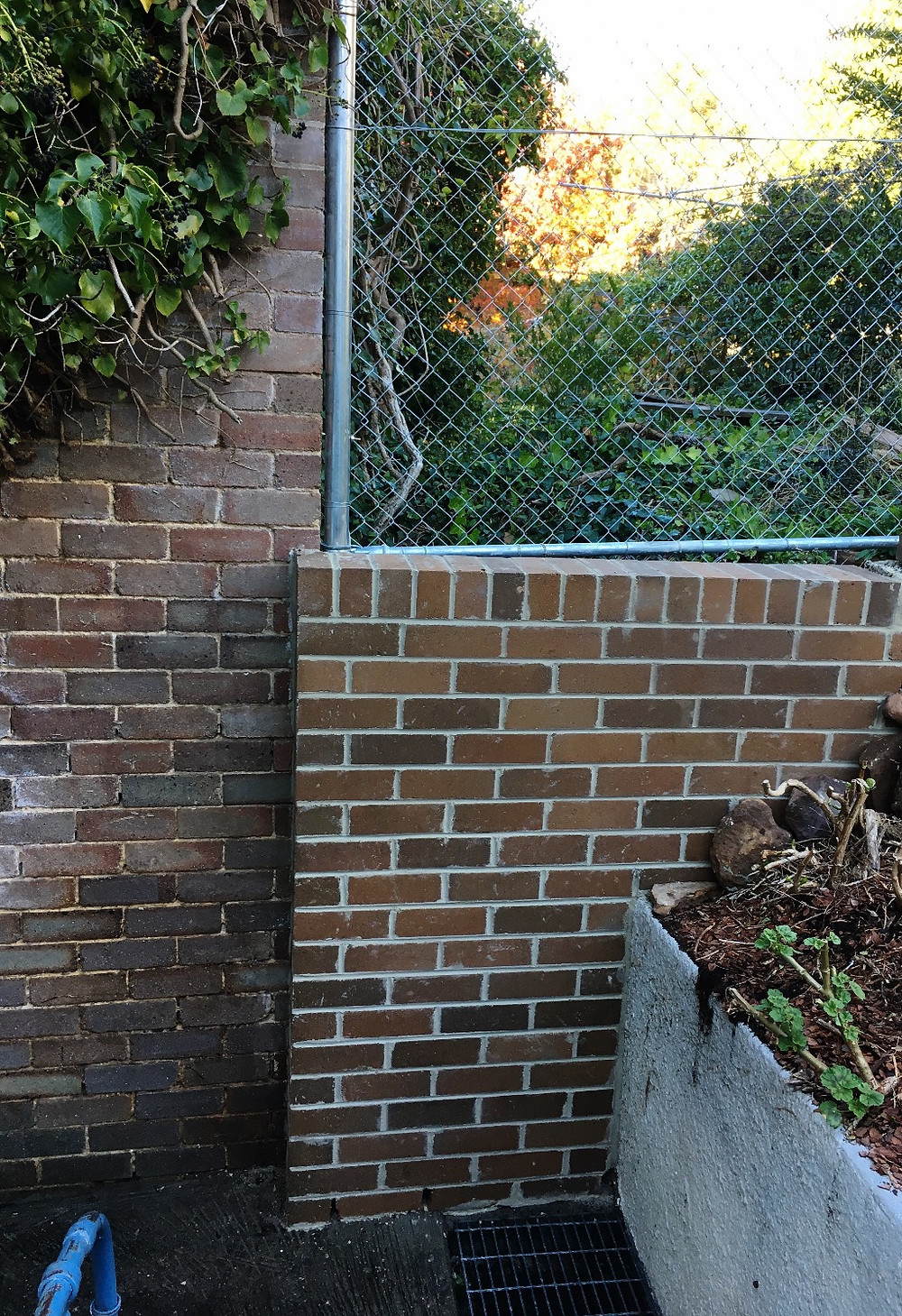 Brick Retaining wall on the side of a mountain In Katoomba