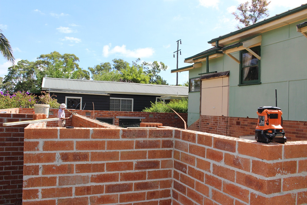 Brick Foundation for an extension in the Blue Mountains