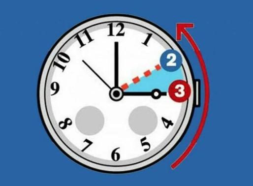 ORA SOLARE:  lancette indietro di 60 minuti