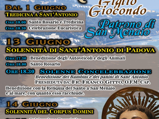 Festività in onore del Santo Patrono della Parrocchia di San  Menaio