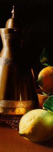 Lemons and brass vase