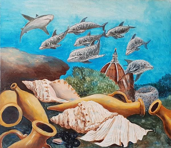 Undersea fantasy with Duomo, painting by Marcello Salzano