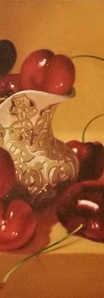 Cherries and porcelain jug