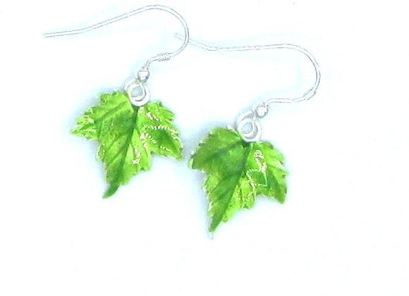 Enamelled Silver Sycamore Leaf Earrings