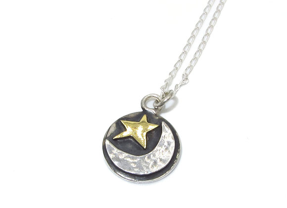 Silver and Gold Moon & Star Pendant