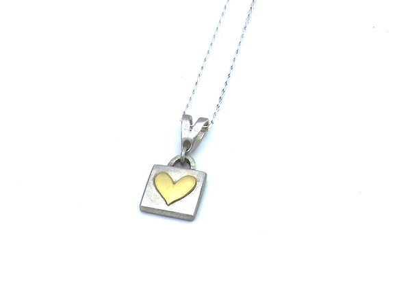Silver and Gold Heart Pendant