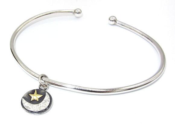 Silver & Gold Moon and Star Bangle