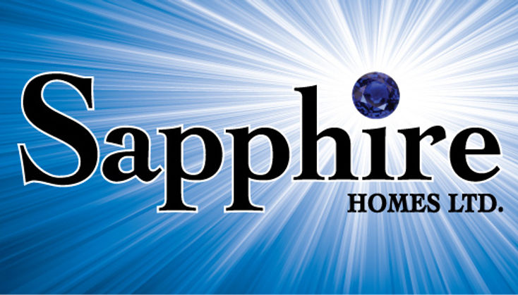 A logo for sapphire homes a local regina saskatchewan home builder