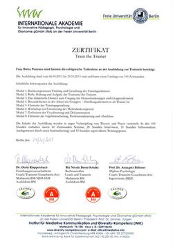 Zertifikat Trainerausbildung IMK