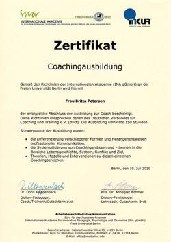 Zertifikat Coach IMK INKUR.