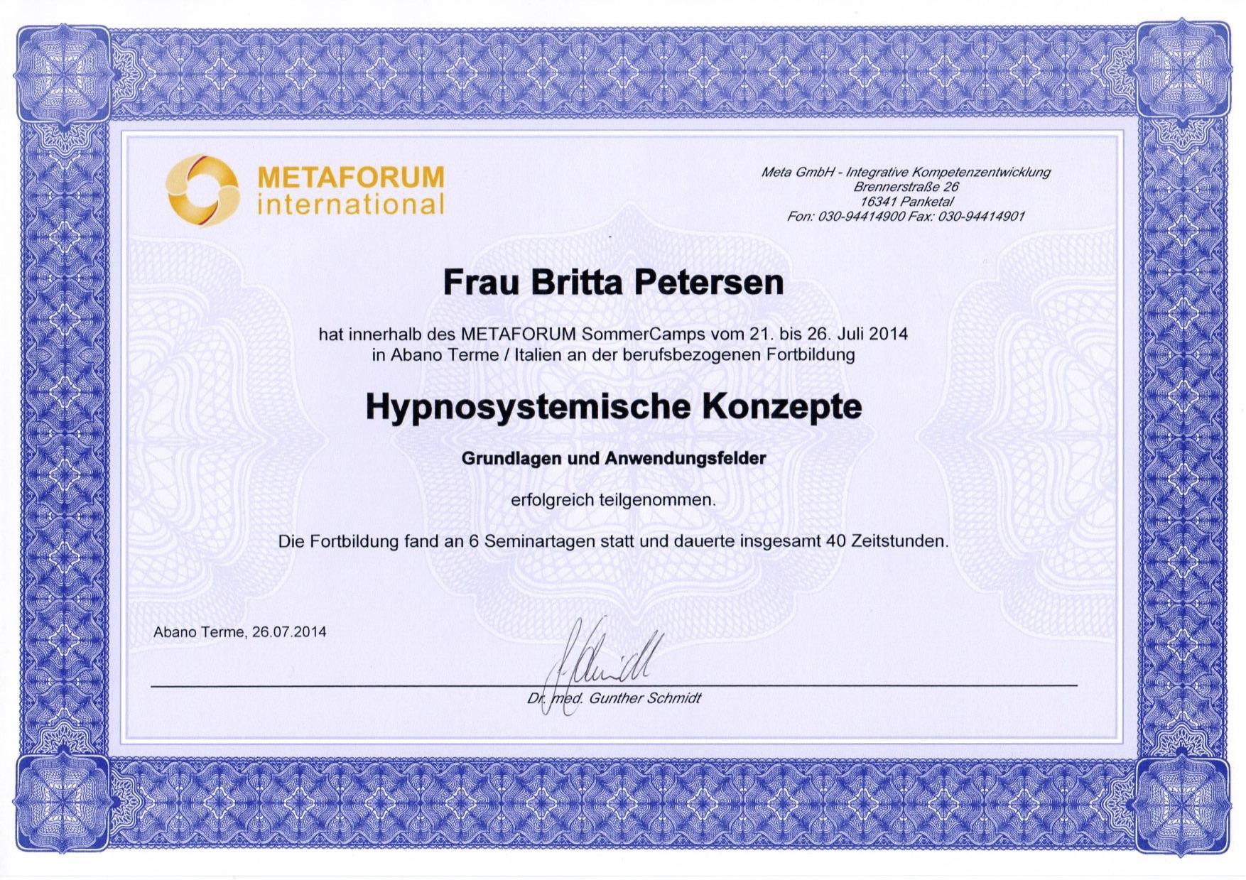 Zertifikat Basis Hypnosystemische Konzep