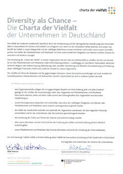 Mitgliedschaft Charta der Vielfalt 2011.