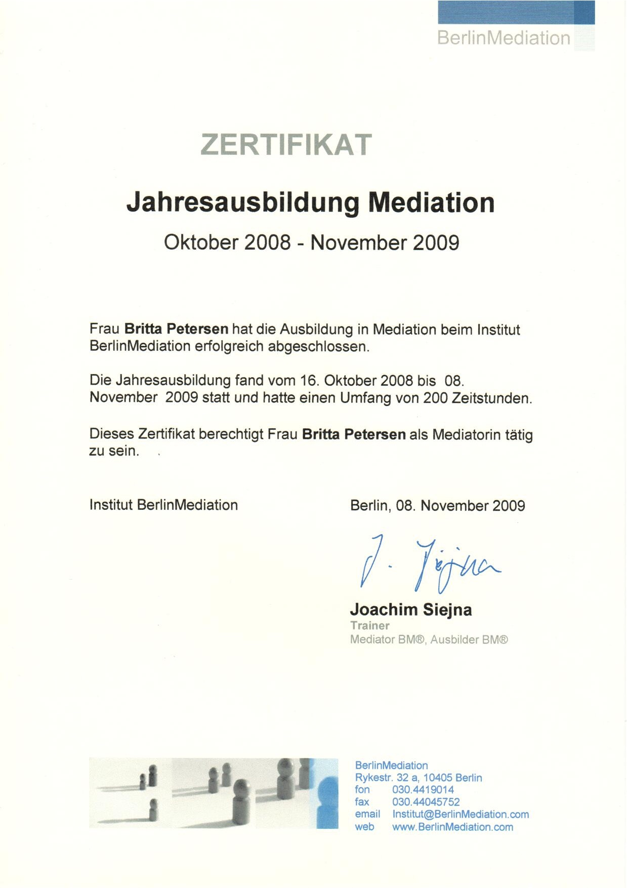 Zertifikat Mediation