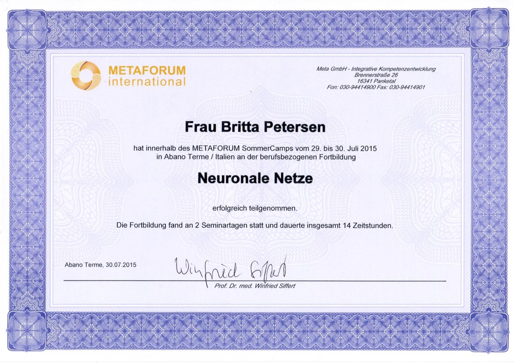 Zertifikat Neuronale Netze