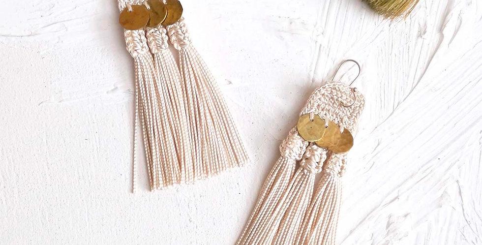 Handmade Crochet Handira Fringe Earrings
